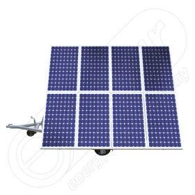 Instalatie fotovoltaica mobila montata pe remorca auto cu o singura axa IDELLA Mobile Energy IME 8, pentru santiere temporare sau aplicatii agricole, cu 8 panouri solare IDELLA Power Poly IPP 550W