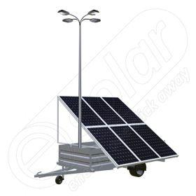 Remorca fotovoltaica generator mobil IDELLA Mobile Energy IME 6, cu 6 module solare IDELLA Power Poly IPP 550W, un stalp pentru iluminat cu 4 brate si 4 lampi cu LED