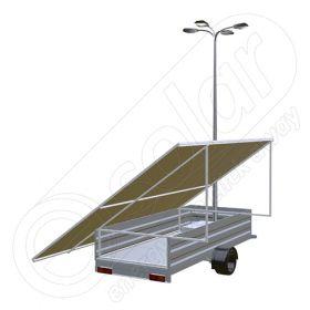 Remorca fotovoltaica IDELLA Mobile Energy IME 8 cu 4 lampi solare, un stalp pentru iluminat si 8 panouri fotovoltaice IDELLA Power Poly IPP 550W pentru santiere temporare sau aplicatii agricole
