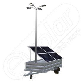 Remorca fotovoltaica mobila IDELLA Mobile Energy IME 4 pentru aplicatii agricole sau santiere temporare, cu 4 module solare IDELLA Power Poly IPP 550W, un stalp pentru iluminat si 4 lampi cu LED