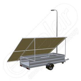Remorca solara mobila IDELLA Mobile Energy IME 8 cu un stalp pentru iluminat, o lampa solara cu LED si 8 panouri fotovoltaice IDELLA Power Poly IPP 550W