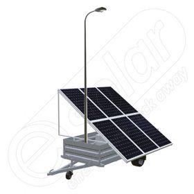 Remorca solara mobila pentru aplicatii agricole sau santiere temporare IDELLA Mobile Energy IME 6, cu un stalp pentru iluminat, o lampa solara cu LED si 6 panouri fotovoltaice IDELLA Power Poly IPP 550W