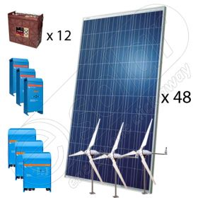 Kit solar hibrid cu eoliene trifazat 15KW-Hi-QTT