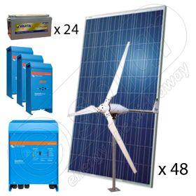 Sisteme solare hibride cu eoliene monofazate 10000W-Hi-QVM