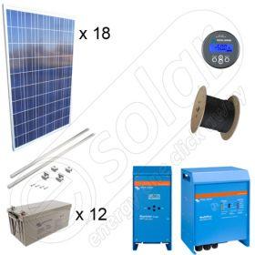 Kit solar 4.5kW putere instalata cu baterii solare Victron GEL si productie de 16kWh cu montajul inclus pe acoperis inclinat