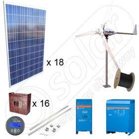 Kituri hibride off-grid cu panouri fotovoltaice de 4.5kW si turbine eoliene de 600W putere instalata cu manopera inclusa