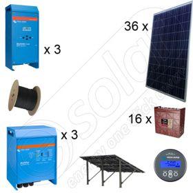Kituri instalatii solare fotovoltaice trifazate off-grid 9kW la cheie cu montaj inclus si productie de 32 kWh energie