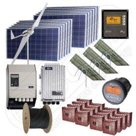 Kituri monofazate hibride eoliene si fotovoltaice 3kW putere instalata si 10kWh media zilnica anuala
