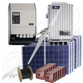 Sistem hibrid monofazat la cheie kit cu turbina eoliana 3kW si panouri solare de 1.5kW putere instalata