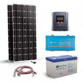 Kit fotovoltaic autonom 360W, 12V 230V stocare, 1800Wh cu doua panouri solare monocristaline 180W 12V, un regulator de incarcare MPPT, un invertor sinus pur si un acumulator solar plumb-carbon 150Ah 12V pret ieftin