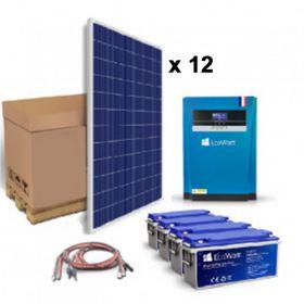 Kit solar 3360W pentru instalatiile autonome cu 12 panouri fotoelectrice policristaline 280W 24V, 4 acumulatori solari 200Ah 12V si un invertor hibrid MPPT 5.5KVA 48V 100A pret ieftin