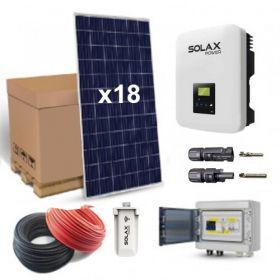 Kit solar 5040W pentru autoconsum cu 18 panouri fotovoltaice policristaline 280W 24V, un invertor monofazat central, o antena WIFI si setul de cabluri complet, pre-sertizate cu mufe MC4 pret ieftin