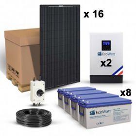 Kit solar 5120W pentru sistemele Off-Grid cu 16 panouri fotoelectrice monocristaline Full Black 320W 24V, doua invertoare hibride 48V 50A si 8 acumulatori cu gel 200Ah 12V pret ieftin