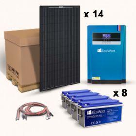 Kit solar pentru instalatiile fotovoltaice Off-Grid cu 14 panouri solare monocristaline 315W 24V, 8 baterii solare plumb-carbon 150 Ah 12V si un invertor hibrid MPPT 48V 100A pret ieftin