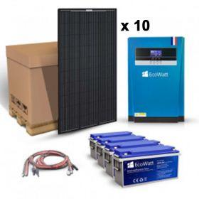 Kit solar pentru sistemele solare off-grid cu 10 panouri fotovoltaice monocristaline  320W 24V, 4 acumulatori cu descarcare lenta 200Ah 12V si un invertor hibrid MPPT 24V 100A pret ieftin